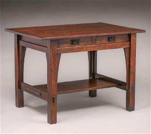 """Gustav Stickley Two-Drawer 42""""w Library Table c1910"""
