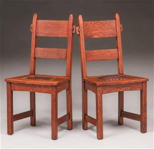 Pair Gustav Stickley Rabbit-Ear Chairs c1901