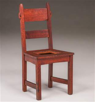 Gustav Stickley Single Rabbit-Ear Chair c1901