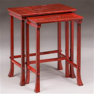 Japanese Red Lacquer Kamakura-Bori Nesting Tables c1910