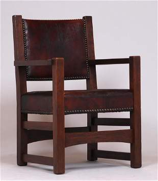 Gustav Stickley #1303A Leather-Back Armchair c1903