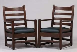 Pair Early Gustav Stickley #2604 Ladderback Armchairs