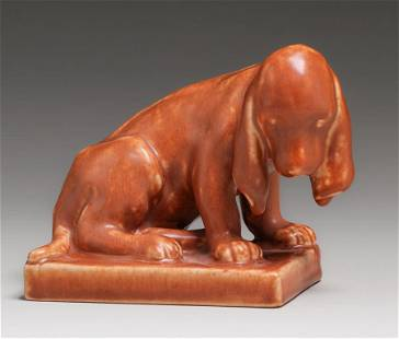 Rookwood Pottery #2998 Dog Paperweight 1930