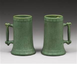 Pair Hampshire Pottery Matte Green Mugs c1910s