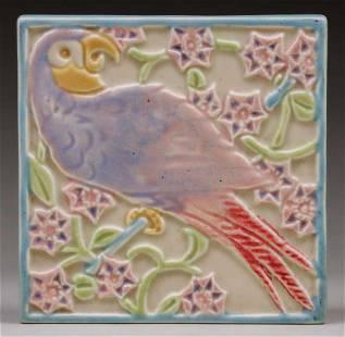 Rookwood Pottery #3077 Parrot Trivet Tile 1924