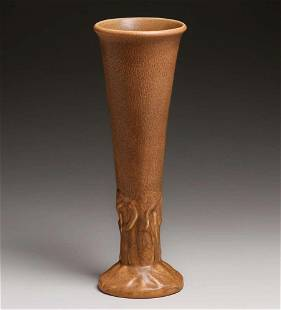 Tall Rookwood Pottery #2010 Matte Brown Vase 1922