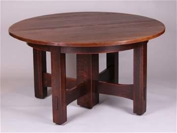 Gustav Stickley 5-Leg Cross-Stretcher Dining Table