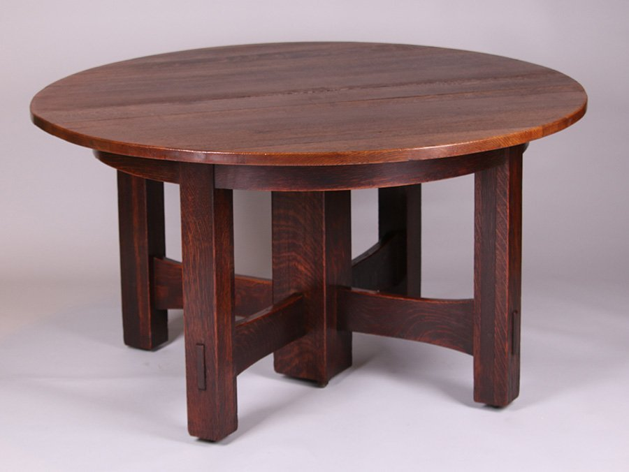 Gustav Stickley 5-Leg Cross-Stretcher Dining Table