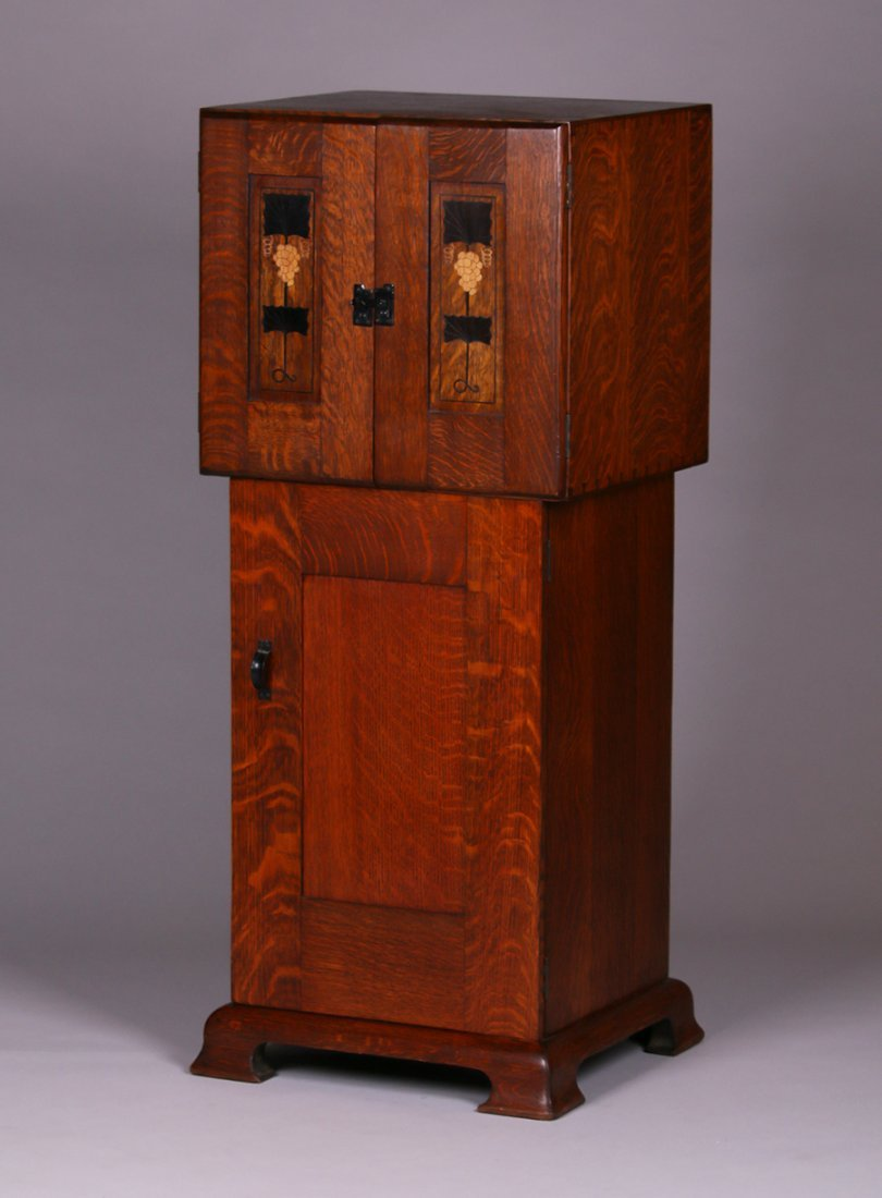 Rare Gustav Stickley Harvey Ellis Inlaid Music Cabinet