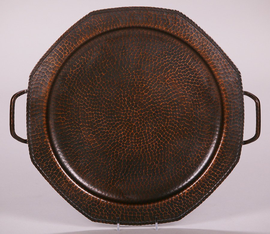 Large Roycroft Hammered Copper Two-Handled Tray