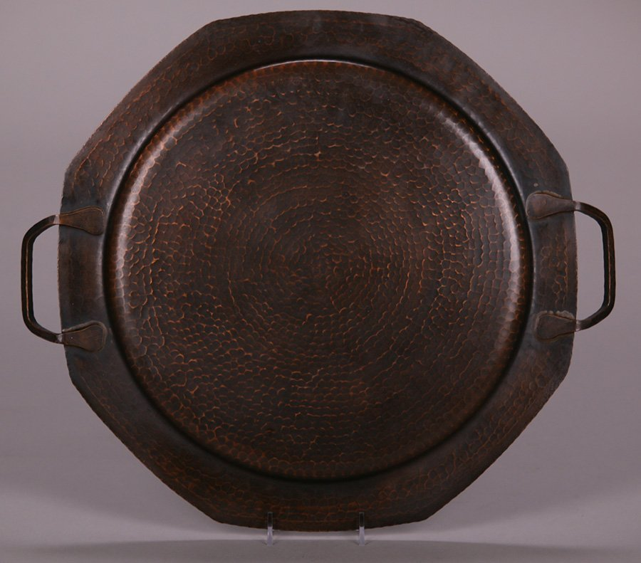 Large Roycroft Hammered Copper Two-Handled Tray - 2