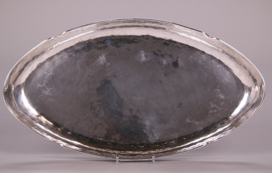 Arts & Crafts Hammered Copper Silver-Plated Tray c1910 - 3