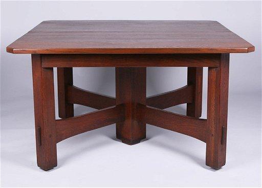 Gustav Stickley 54 Square Clip Corner Dining Table