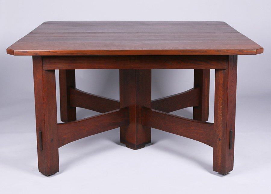 "Gustav Stickley 54"" Square Clip-Corner Dining Table"