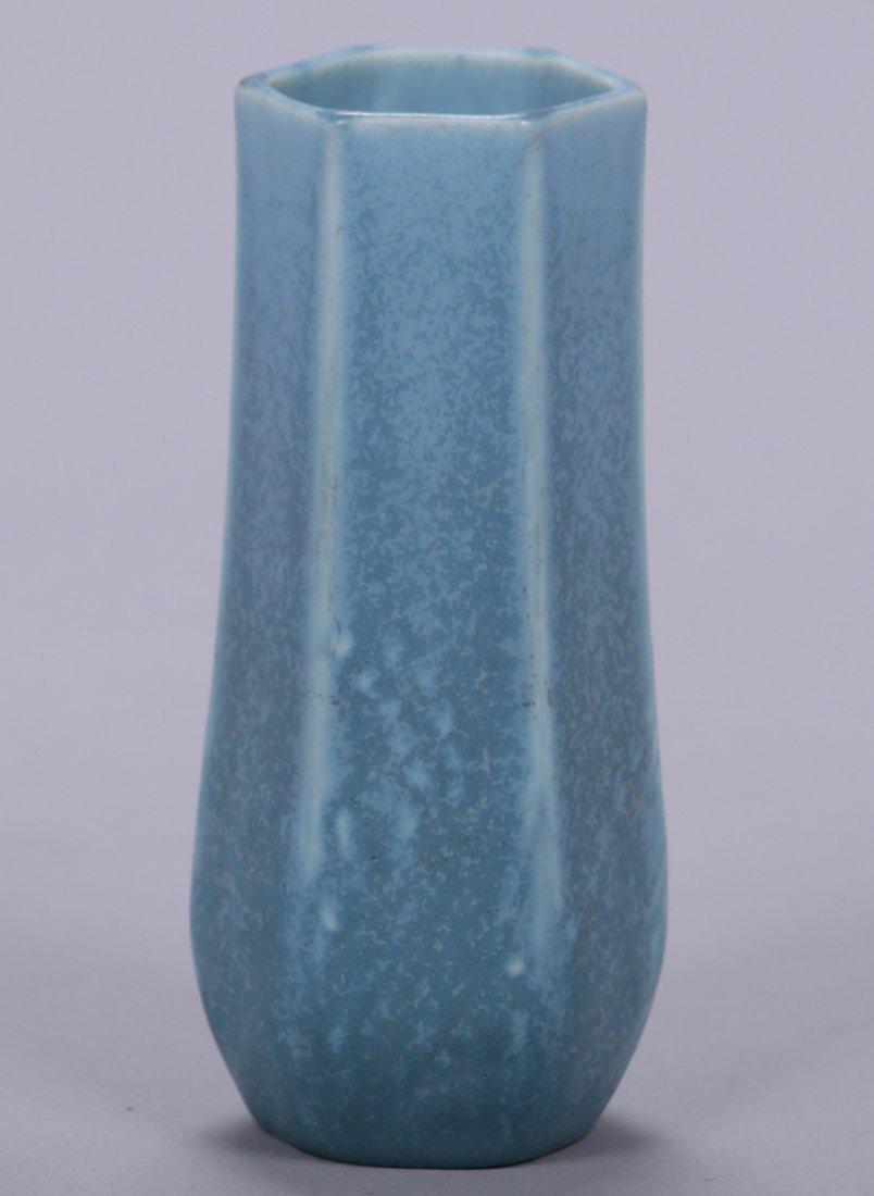 Rookwood 6-Sided Matte Blue Vase - 2