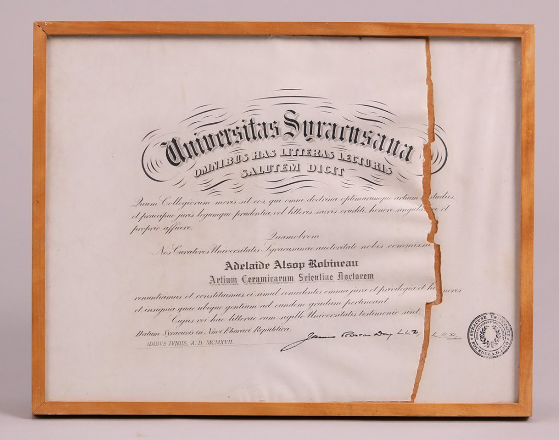 Adelaide Robineau Syracuse University Certificate 1917