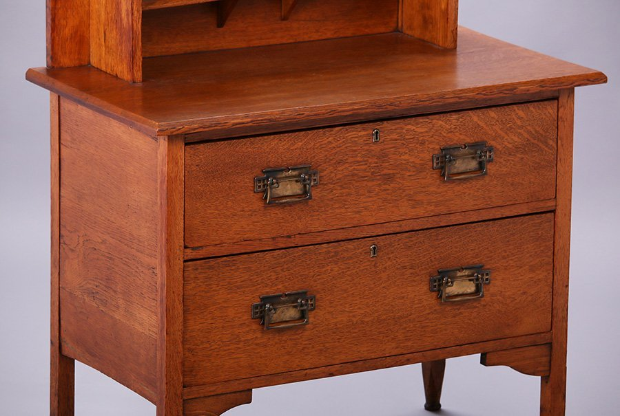 English Arts & Crafts Inlaid Dresser with Mirror - 2
