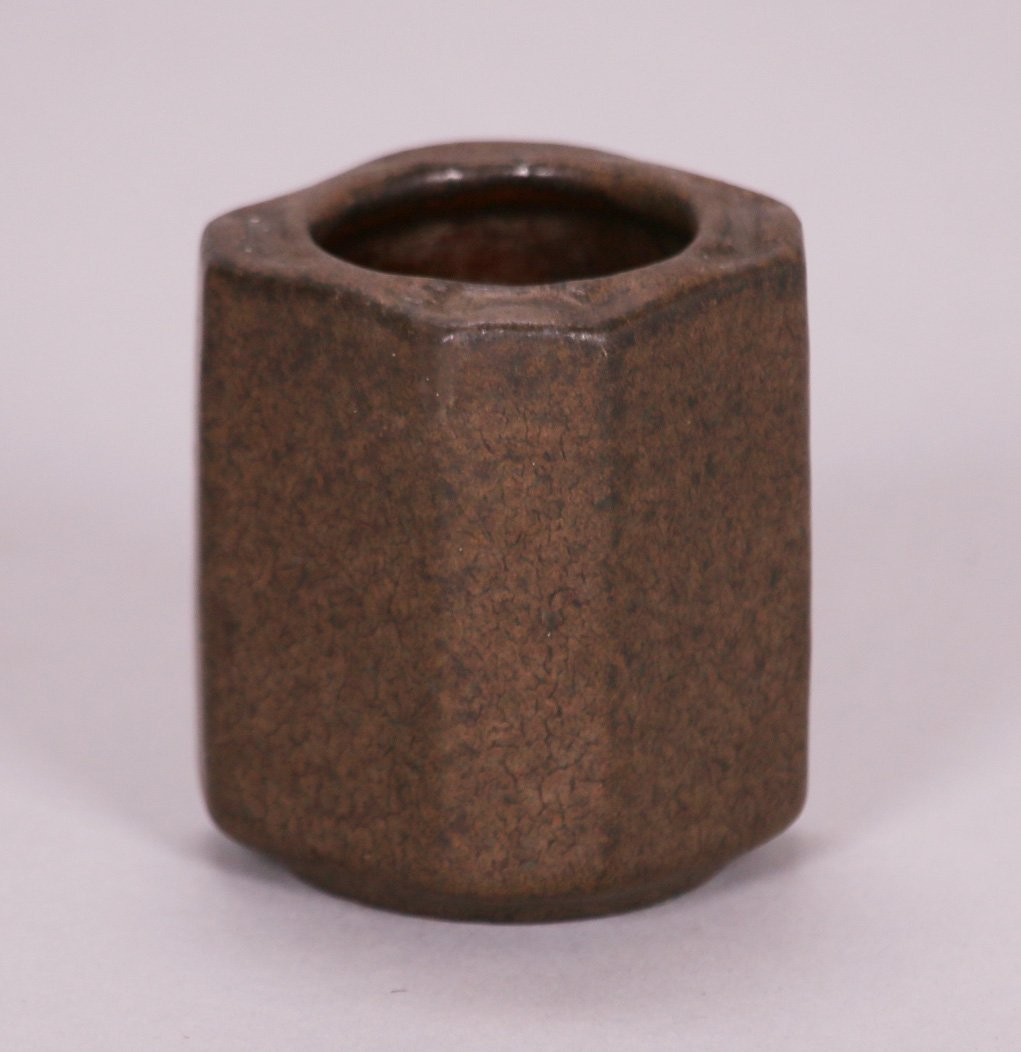 Small Early Fulper 8-Sided Matte Brown Vase