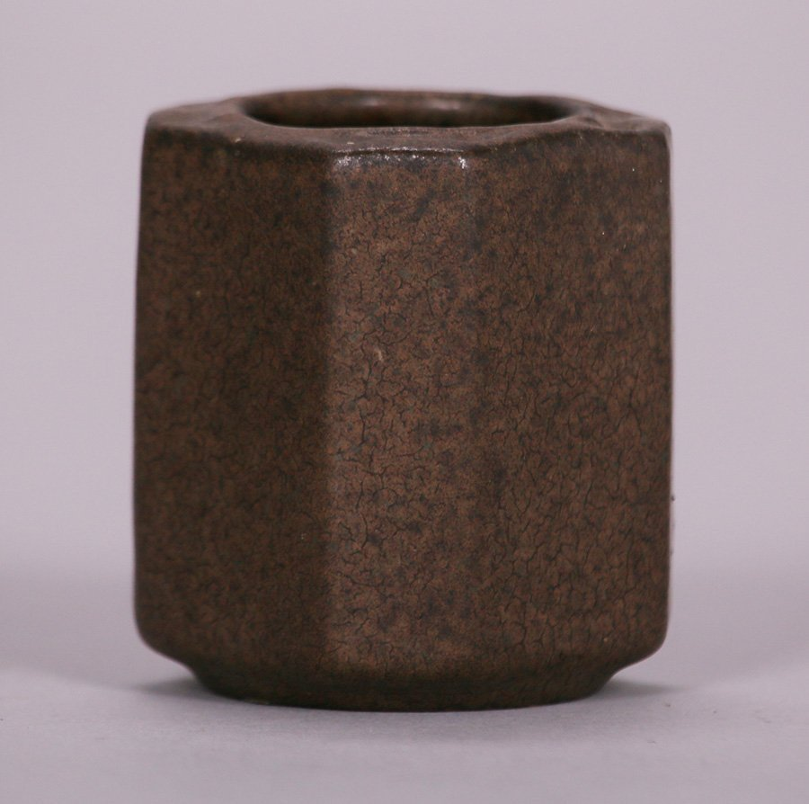 Small Early Fulper 8-Sided Matte Brown Vase - 2
