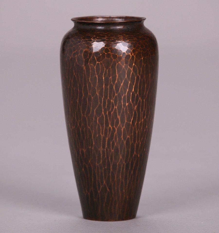 "Exquisite Roycroft Hammered Copper 6"" Vase - 2"