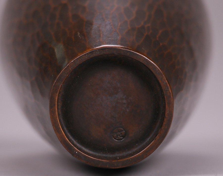 "Exquisite Roycroft Hammered Copper 6"" Vase - 3"