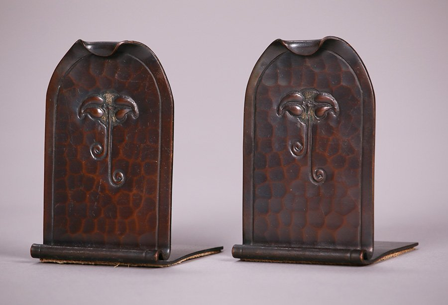 Small Roycroft Hammered Copper Bookends