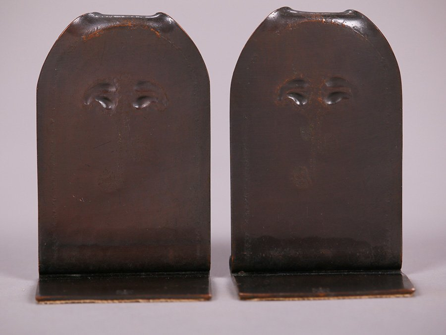 Small Roycroft Hammered Copper Bookends - 2