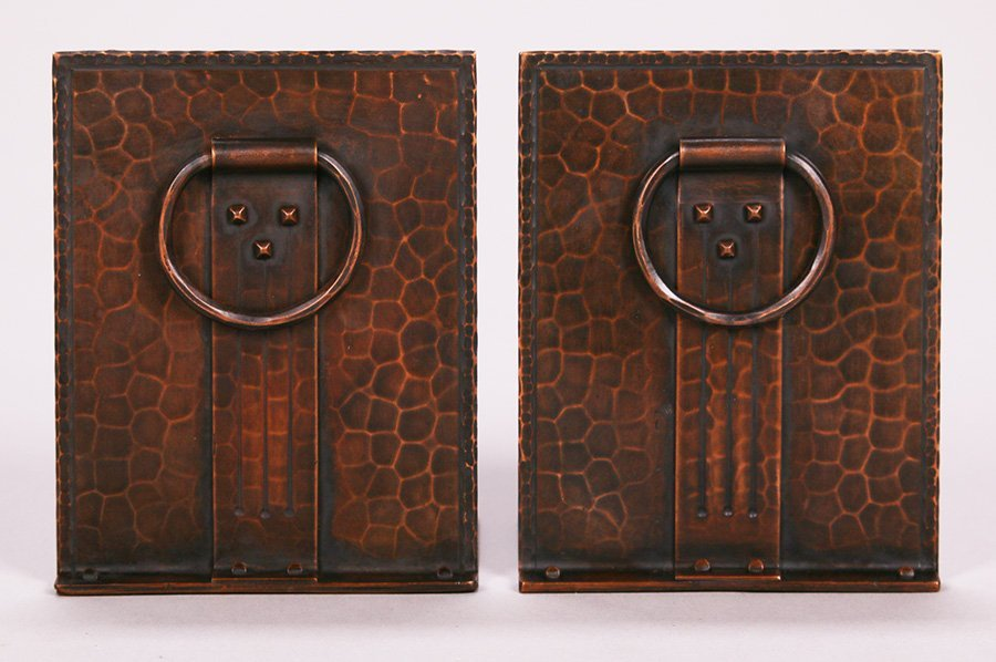 Roycroft Hammered Copper Bookends with Loop Handles