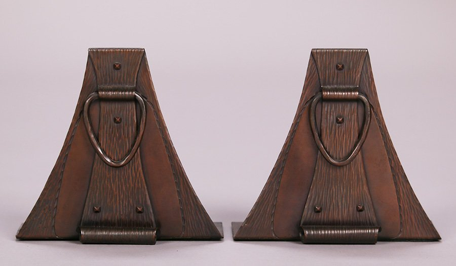 Roycroft Hammered Copper Arched Loop Bookends