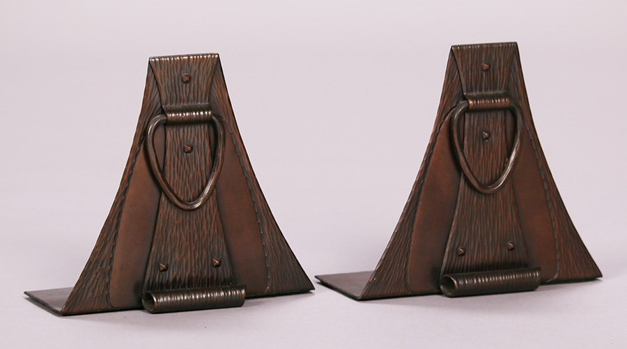 Roycroft Hammered Copper Arched Loop Bookends - 2