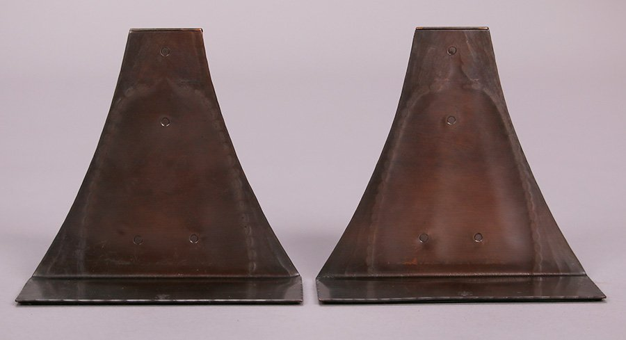 Roycroft Hammered Copper Arched Loop Bookends - 3