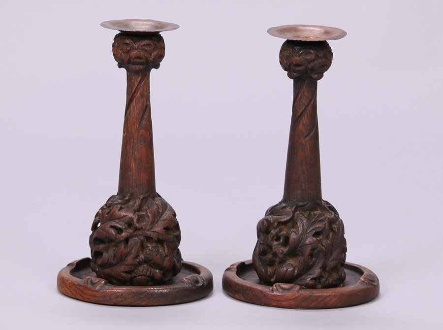 Pair of Charles Rohlfs Hand-Carved Oak Candlesticks