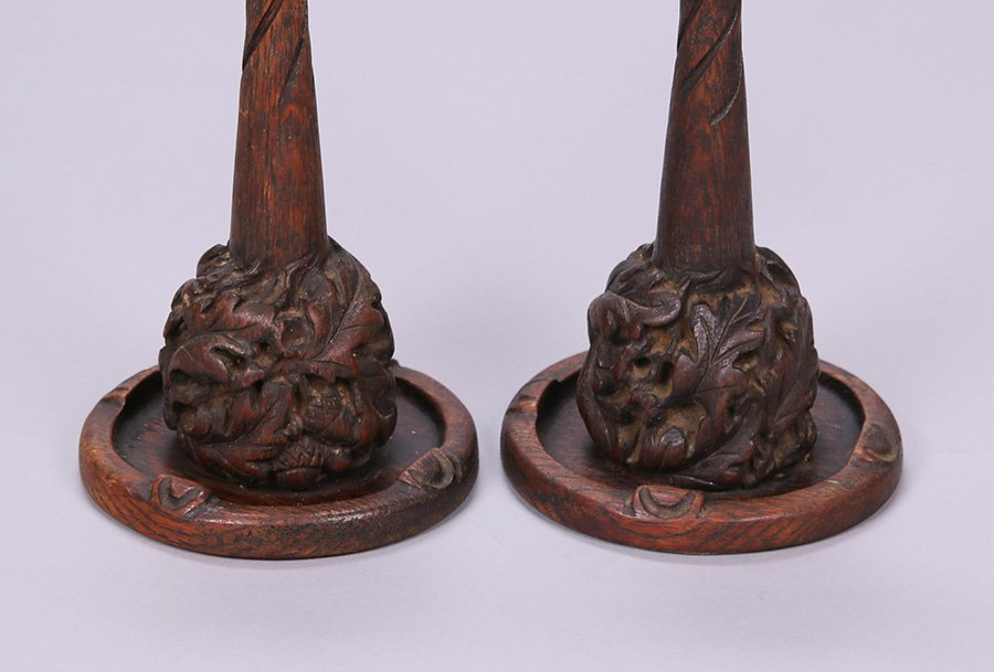 Pair of Charles Rohlfs Hand-Carved Oak Candlesticks - 2
