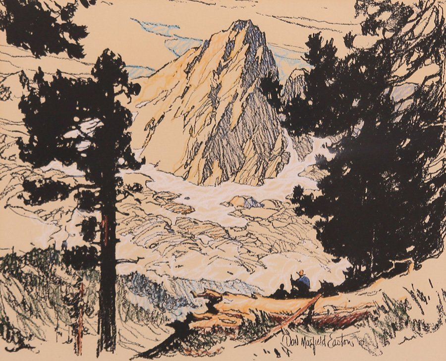 Donald Easton Hand-Colored Litho of Sierras