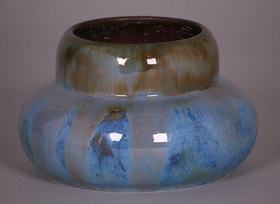Fulper Blue Flambé  Glazed Squat Vase