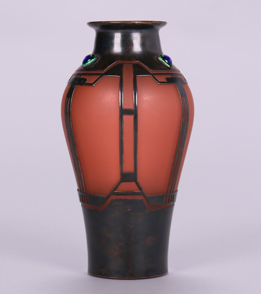 Vienna Secessionist Glass Vase with Cutout Bronze