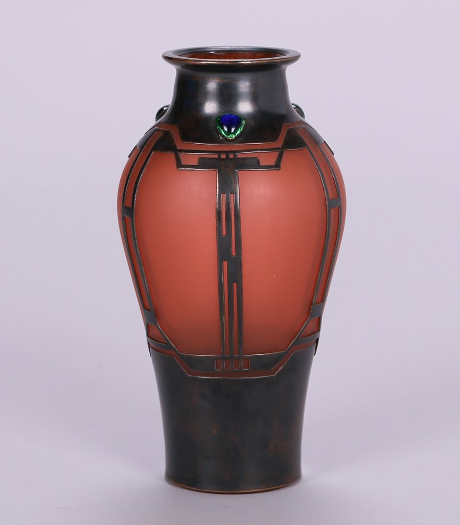 Vienna Secessionist Glass Vase with Cutout Bronze - 2