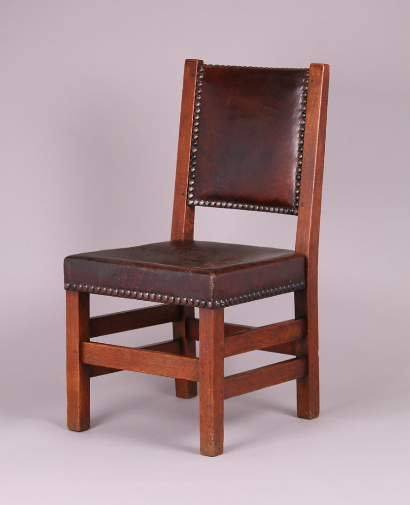 Gustav Stickley Leather-Back Side Chair