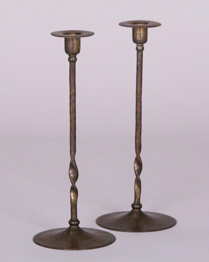 Tall Roycroft Hammered Copper Candlesticks