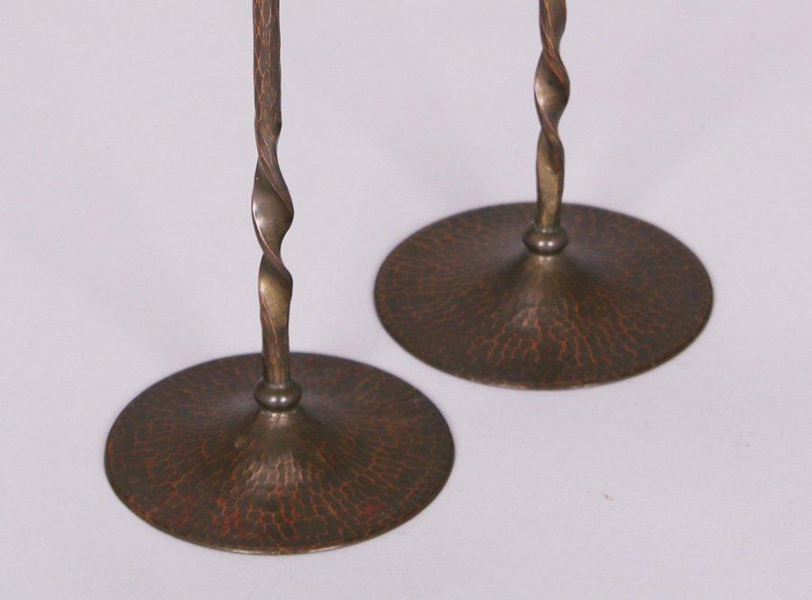 Tall Roycroft Hammered Copper Candlesticks - 2