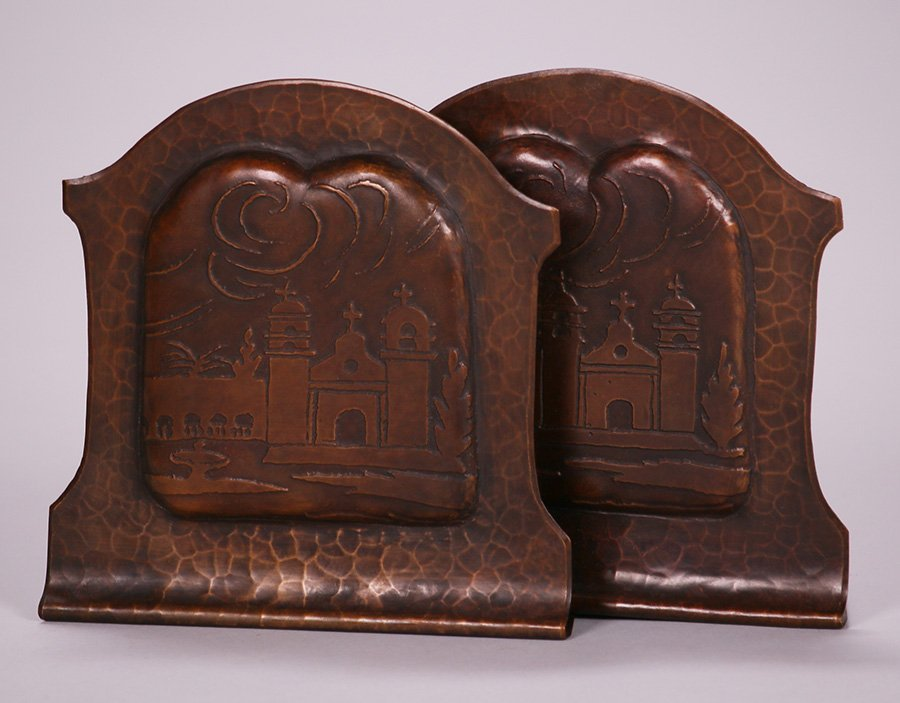 Pair of Early Craftsman Studios Mission Bookends