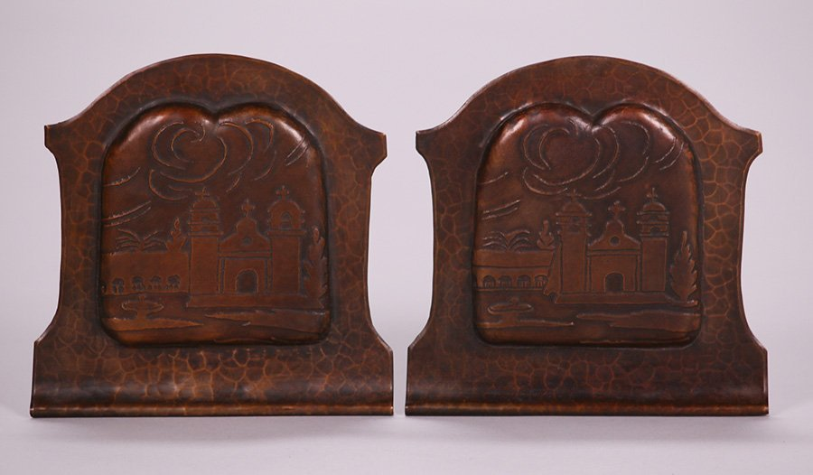 Pair of Early Craftsman Studios Mission Bookends - 2