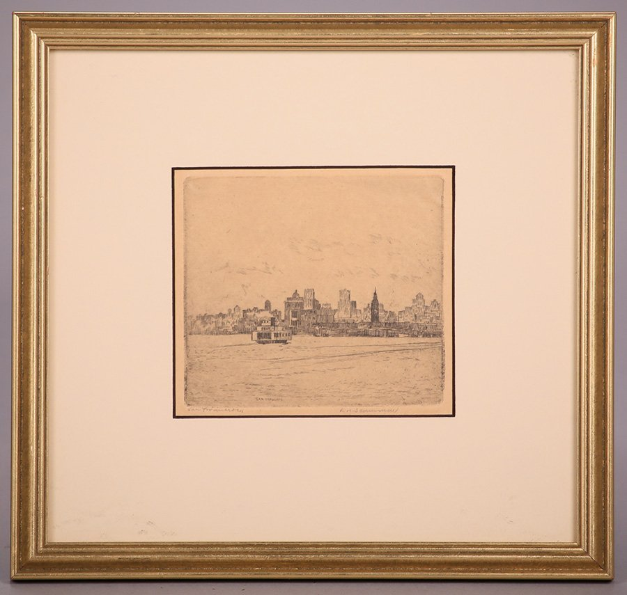 Lawrence Scammon Etching of San Francisco Bay c1930s - 2