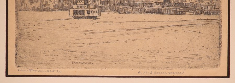 Lawrence Scammon Etching of San Francisco Bay c1930s - 3