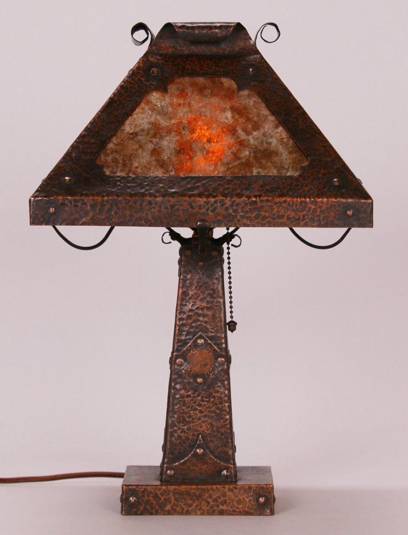 Arts & Crafts Hammered Copper Square Lamp c1910