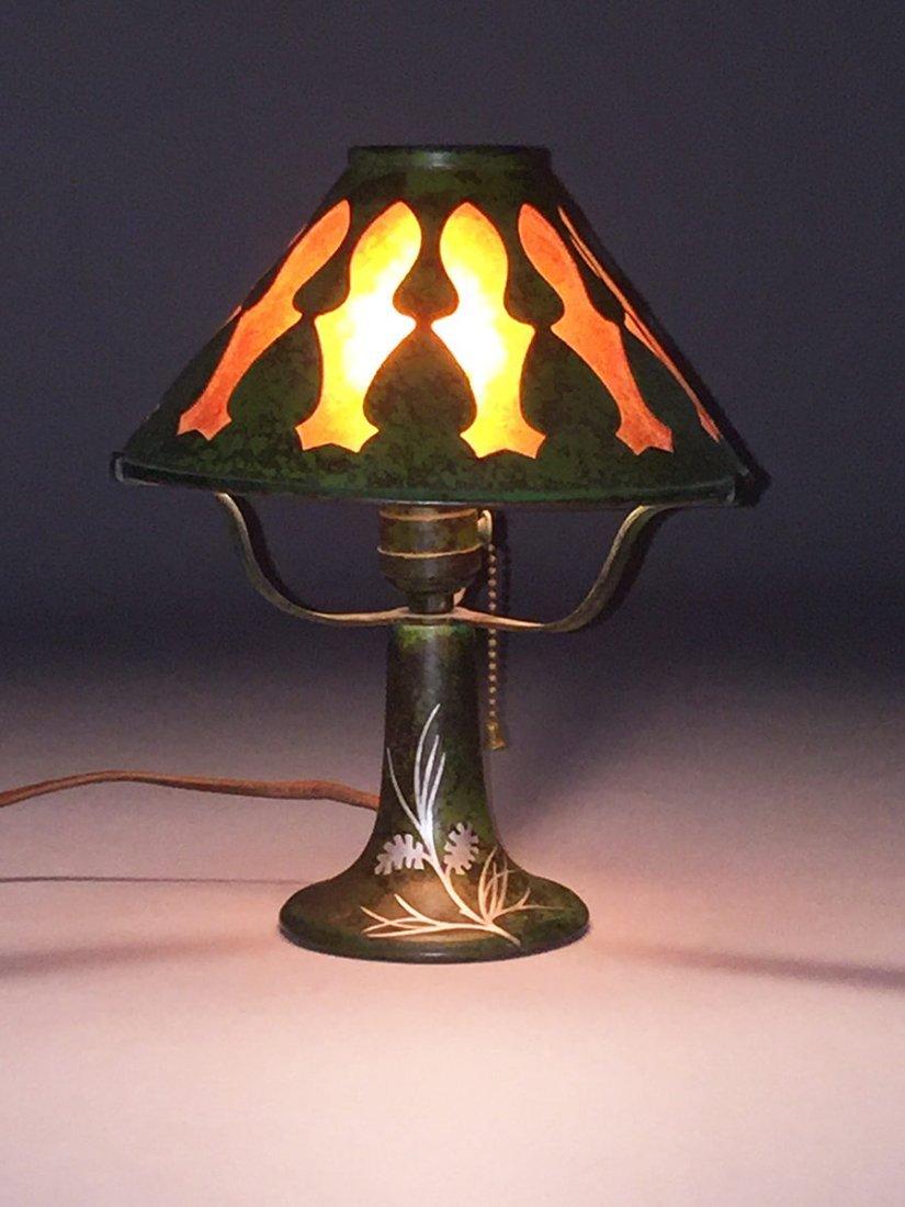 Heintz Sterling on Bronze Green Lamp