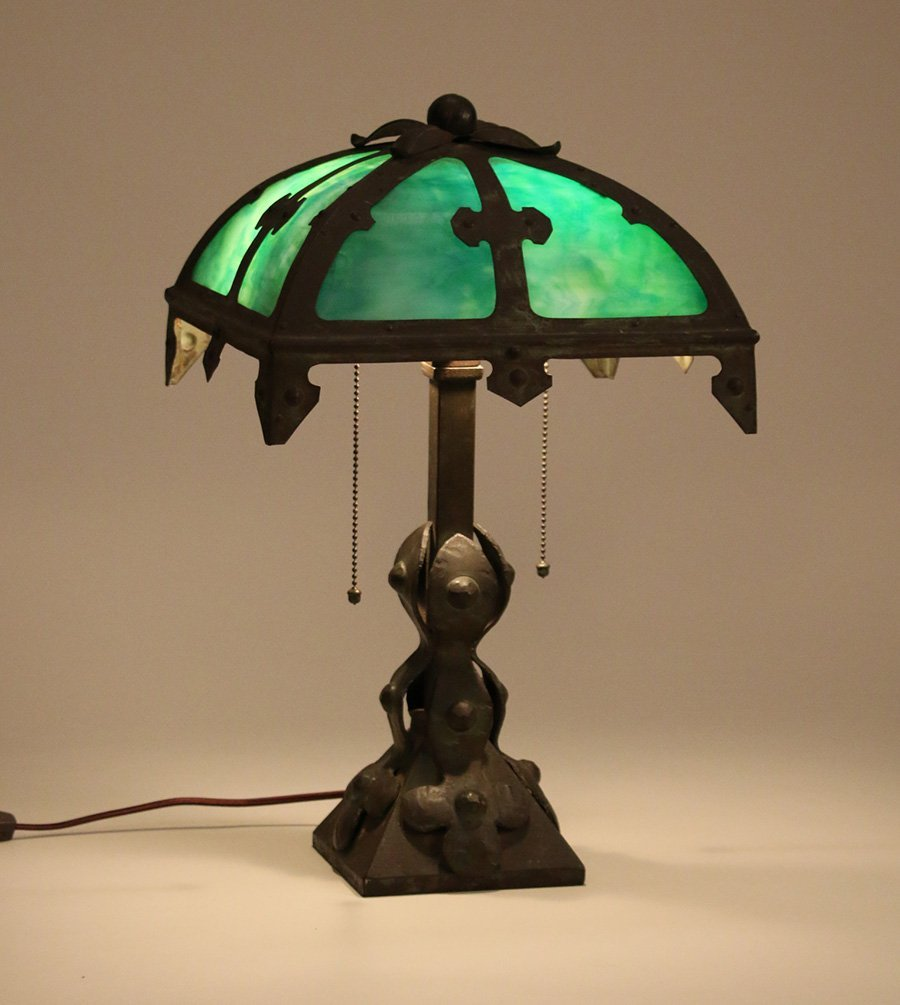 Arts & Crafts Iron & Slagglass Lamp c1910