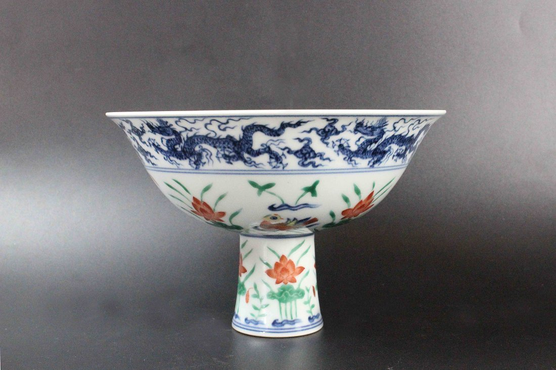 Chinese Blue And White Colourful Sanskrit High-foot
