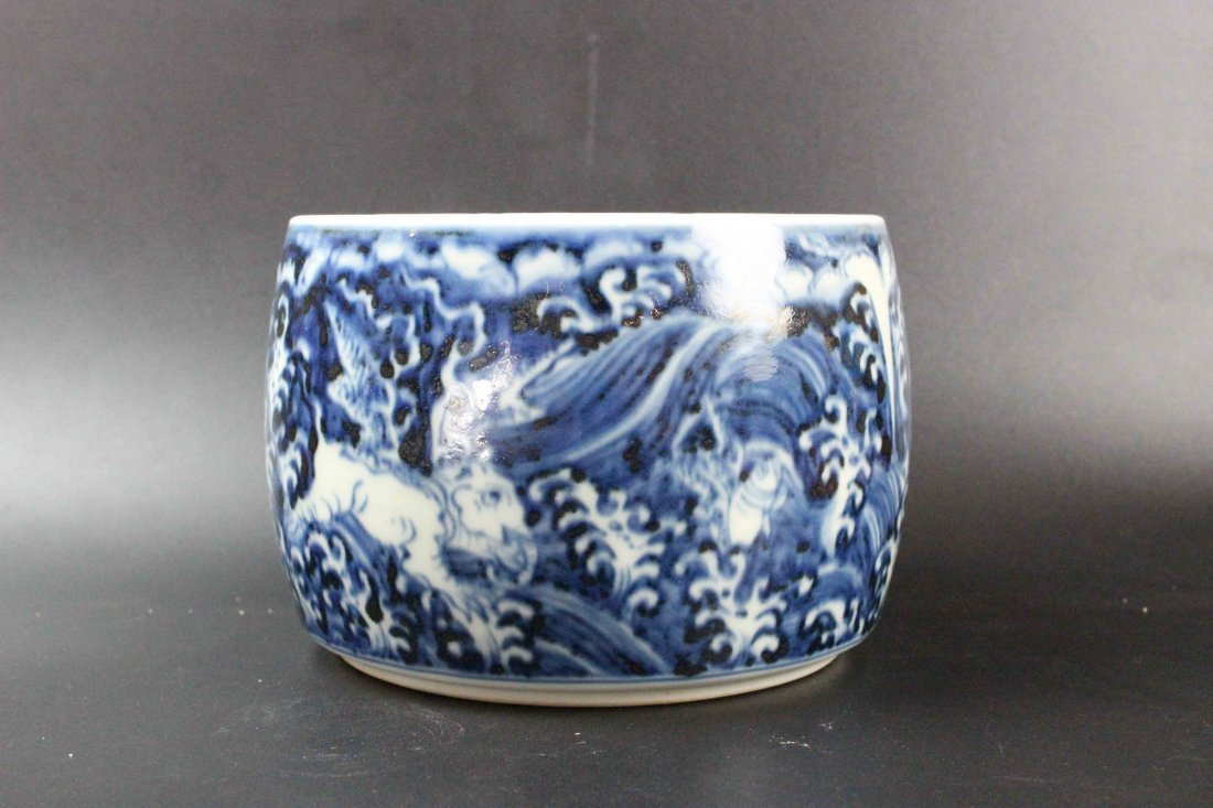 Chinese Blue And White Cricket Pot