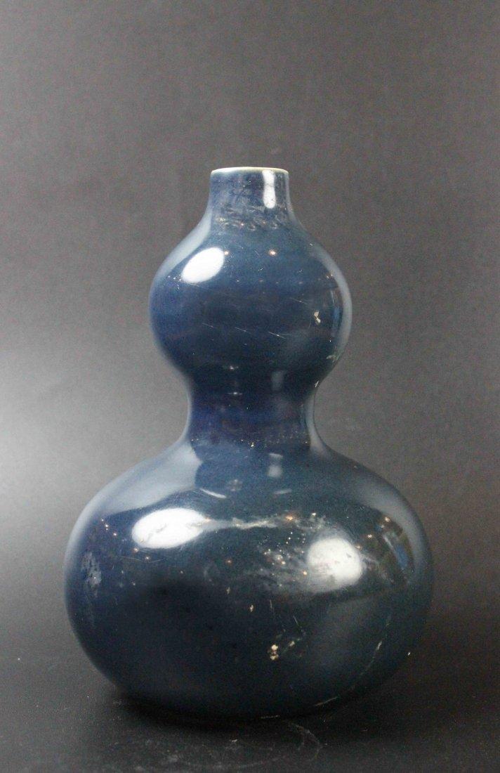 Chinese Altar Blue Glazed Calabash Shaped Vase